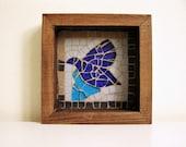 Handmade Mosaic with ceramic  and glass tiles- home decor - blue dove