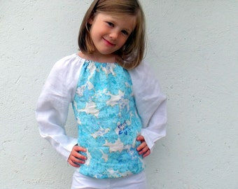 Sale Half Price Upcycled Aqua and White Linen Peasant Top age 5
