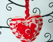 Christmas Ornament Tree Decoration Red and White Hanging Heart