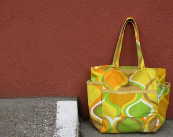 Mod Madness Upcycled Retro Weekender - Golden Yellow Mid Century Teacher / Market / Diaper Bag - Eco Friendly - Under 50 Back to School Gift