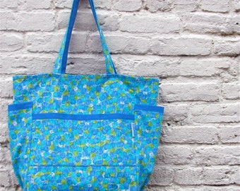 Sea of Tulips Large Weekender - Modern Blue Cotton Floral Print - Diaper Bag / Travel / School Tote - Eco Friendly - Under 50 Teacher Gift