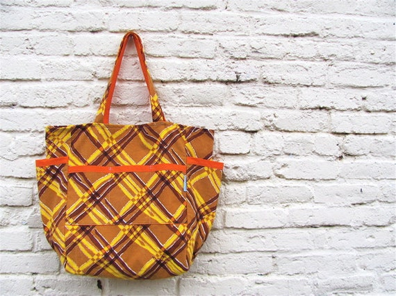 Golden Harvest Plaid Large Weekender - Mid Century Modern Criss Cross Market / Diaper Bag / Travel - Eco Friendly Fashion - Under 50 Gift