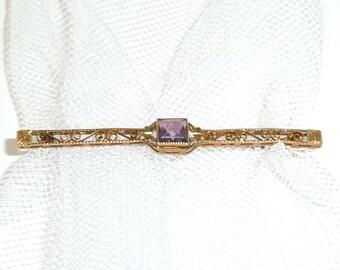 Gold Filigree - Amethyst - Brooch - Bar Pin - 1940s - Deco - Recycled - UNIQUE - February Birthstone - Romantic - Retro - LISBETH - Dainty