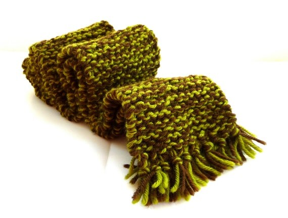 Wool - Scarf - Unisex - Hand Made - Woodland - Brown - Green - Retro - Camouflage - SIAN - DECLAN - Nubby - Manly - UNIQUE - ooak