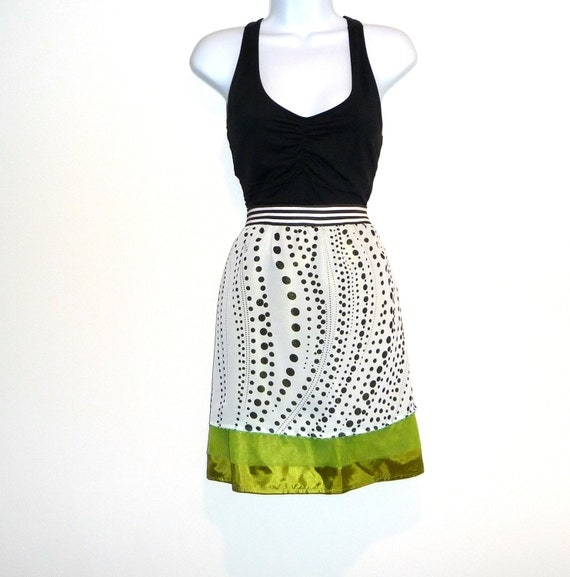 Black White - Chartreuse Skirt - Circles Pattern - Dots Swirls - Hand Made - UNIQUE - OOAK - Polka Dots - Swirls - Tulle - UNIQUE