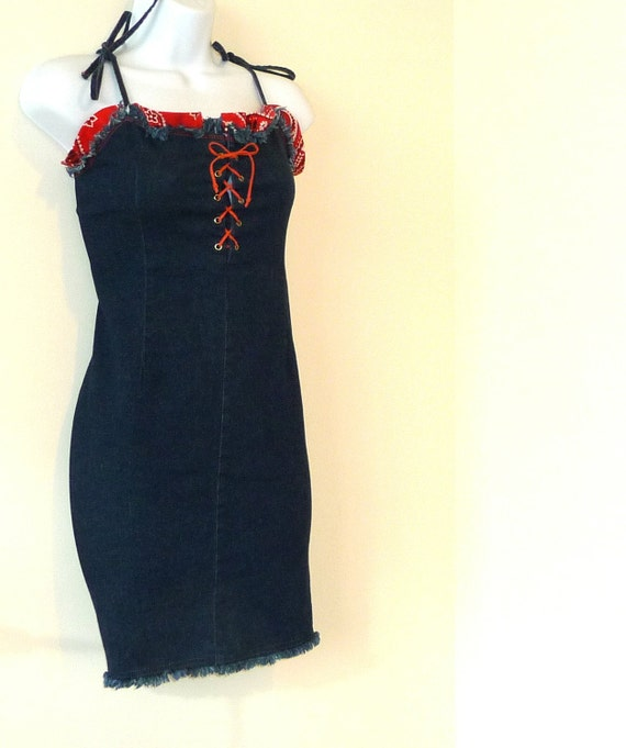 RESERVED size large, denim, wiggle, mini, red bandana, body hugging, rockabilly, country western, upcycled, ooak