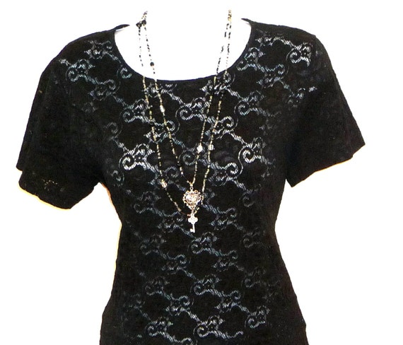 LACEY - 90s - Black Sheer - Lace Leaf Pattern - Tee Shirt - Short Sleeve - Pullover - Recycled - Feminine Stretch Layer