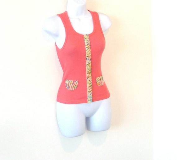 Coral Salmon - Ribbed Tank Top - Vest - Hand Made - Embellished -Batik - Gold Buttons - UNIQUE - Preppy - Summer - Pullover