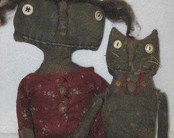 "Millie and Moe Primitive 15"" Black Doll & 11"" Cat IMMEDIATELY DOWNLOADABLE E-PATTERN"