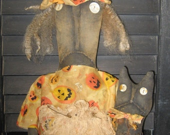 """Willa Witch and Winx the Cat 24"""" Primitive Black Doll Halloween IMMEDIATELY DOWNLOADABLE E-PATTERN"""