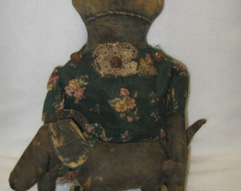 """Vina Lee and Woof Primitive 21""""Black Doll and Dog IMMEDIATELY DOWNLOADABLE E-PATTERN"""