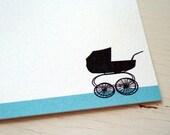 Personalized Stationery Baby Pram Custom Stationary Vintage Stroller Thank You Notes
