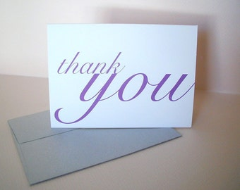 Thank You Cards - Folded Notecards - Purple Notes . Blank Greeting Cards . Set of 10