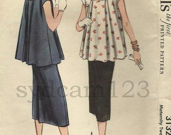 Vintage 1955 Maternity Blouse Banded Neckline Slim Skirt McCalls 3132 Bust 30