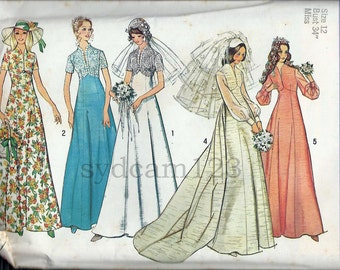 Vintage 1970s Empire Waist  Wedding Gown Pattern Raised V Neckline Lace Overlay 1973 Simplicity 6160 Bust 34 UNCUT