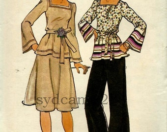Vintage 1970s Wardrobe Pattern Square Neck Wide Sleeve Tunic Belted Blouse Flared Skirt Wide Leg Pants 1976 Butterick 4069 Bust 38 UNCUT
