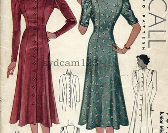 Vintage 1936 Coat Dress Pattern Princess Seamed Button Front Flared Skirt Gathered Sleeves 1936 McCall 9015 Bust  34