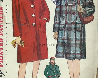 Vintage 1943 Box Coat Single or Double Breasted...Two Lengths...Simplicity 4563 Bust 30 UNCUT