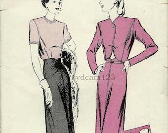 Vintage 1944 Scalloped High Waist Skirt Suit Pattern Back Button Blouse Slim Skirt Bolero Jacket 1940s Butterick 2878 Bust 32 UNCUT