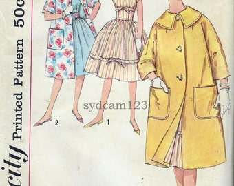 Vintage 1959 Wide Collar Kimono Sleeve Coat...Bow Trimmed Full Dress...Simplicity 3322 Bust 33