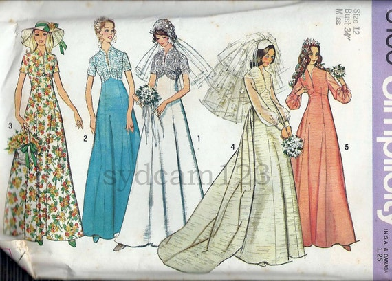 Vintage 1970s Empire Waist  Wedding Gown Pattern Raised V Neckline Lace Overlay 1973 Simplicity 6160 Bust 34 UNCUT
