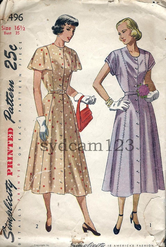 Vintage 1948 Collarless Flared Shirtdress w Capelet Flutter or Cap Sleeves Simplicity 2496 Bust 35