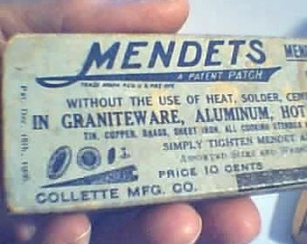 Tool  Patch Kit 1906 Vintage AMERICAN. Mendets Mend All Leaks Instantly. You Mend My Heart  for 106 years.