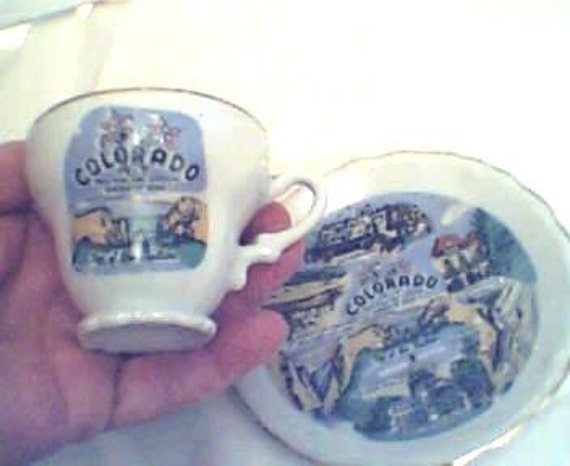 Cup Saucer Helllllo Coloradoo. Love Your Hills and Valleys.          Darling old miniature Souvenir Teacup Saucer