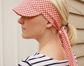 Fabric sun cap - orange - white spots - tie back - 1950s style