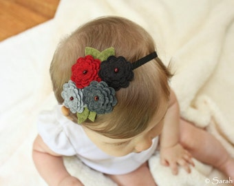 Red, Grey & Black Felt Flower Headband