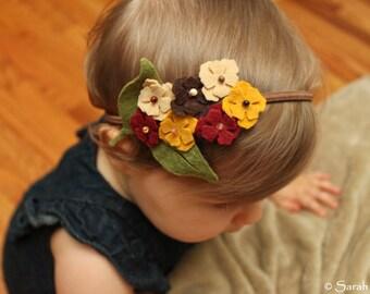 Fall Bouquet of Felt Flowers on Elastic Headband