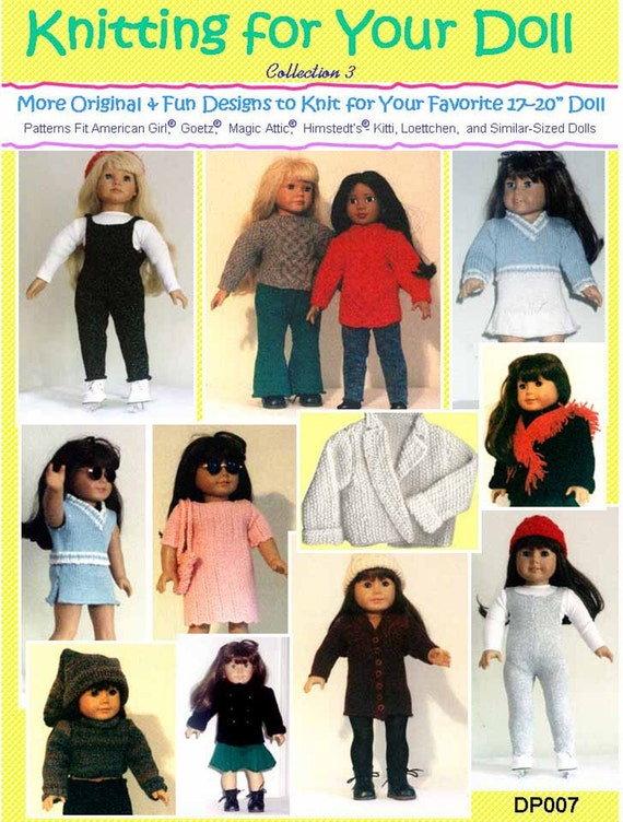 """Collection 3 More Original and Fun Knitting Patterns for American Girl and Other 18"""" Dolls, Collection 3 - PDF File"""
