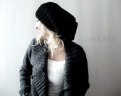 Black Slouchy Hat, Womens Winter Fashion, Gift for Her, Womens Gift, Mens Winter Hat