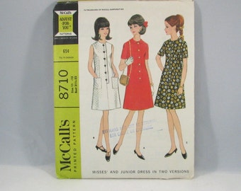 McCalls 1960s Dress Pattern Retro Sewing Pattern No 8710 - Size 11 to 13 - Bust 31.5 to 33
