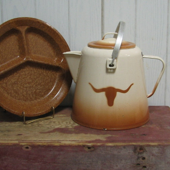 Southwestern Vintage Enamelware Coffee Pot Country with Long Horn Wallace China Go Along Western Cabin Decor