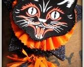 Vintage Inspired Black Cat Wand - HALLOWEEN