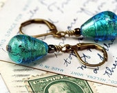 vivid iridescent turquoise earrings, Venetian Murano glass 24K gold foil, aqua peacock blue earrings teardrops, leverback lampwork earrings