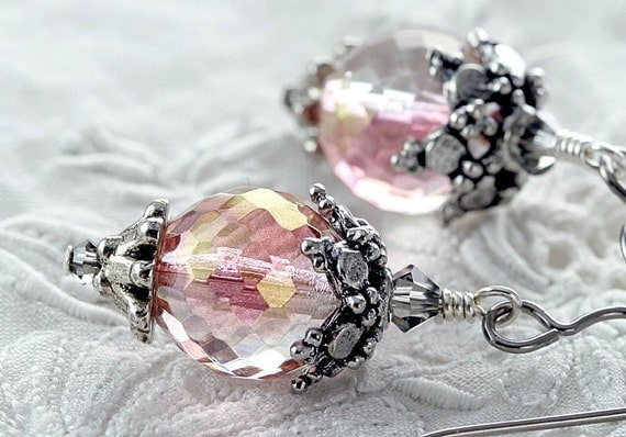 pink crystal earrings with Swarovski crystals, niobium earrings Victorian style peach hypoallergenic Downton Abbey jewelry
