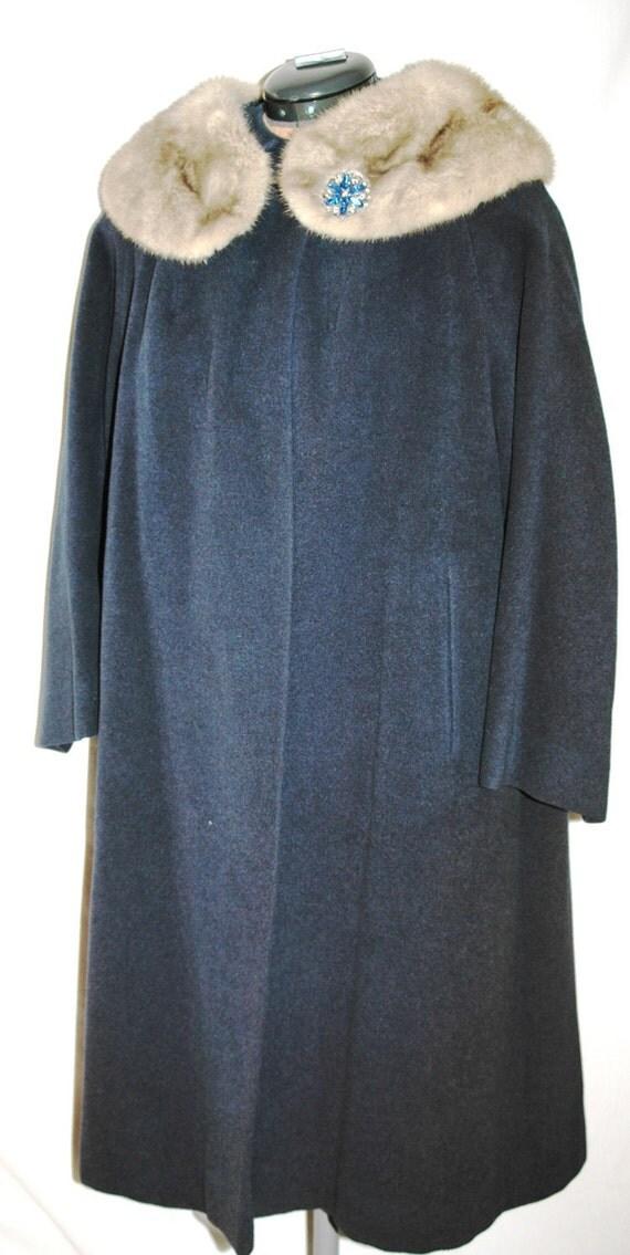 Vintage 1950s  Swing Coat  Dark Blue Wool and Fur