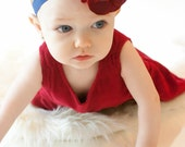 Vintage Style 4th of July Headband Red Rose Flower on a Navy Blue Elastic Headband with Rhinestone Button Center