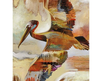 SINGLE PELICAN   12 x 16 Signed Giclee Print on Fine Art Paper