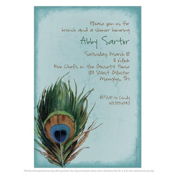 Turquoise Peacock Invitation, Teal Save the Date card Peacock feather, Aqua Boho Rustic invitation