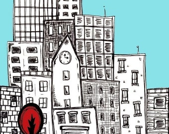 City Art Print.Red Tree in the City. Alone In a Crowd - 8 x 10 Wall Art.