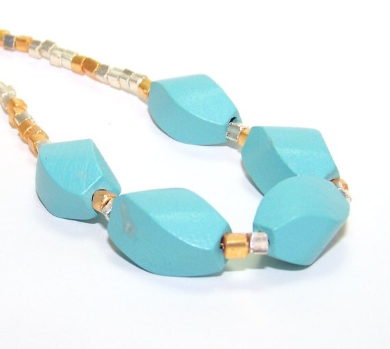 Inventory Clearance Sale. Blue Necklace. Wood Necklace. Turquoise Blue Silver and Gold Wood Helix Beaded