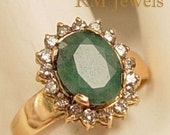 Antique Emerald and White Diamond 14Kt Gold Ring - Estate