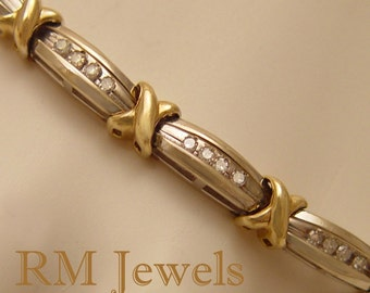 Extra Long Diamond Bracelet 10Kt White and Yellow Gold