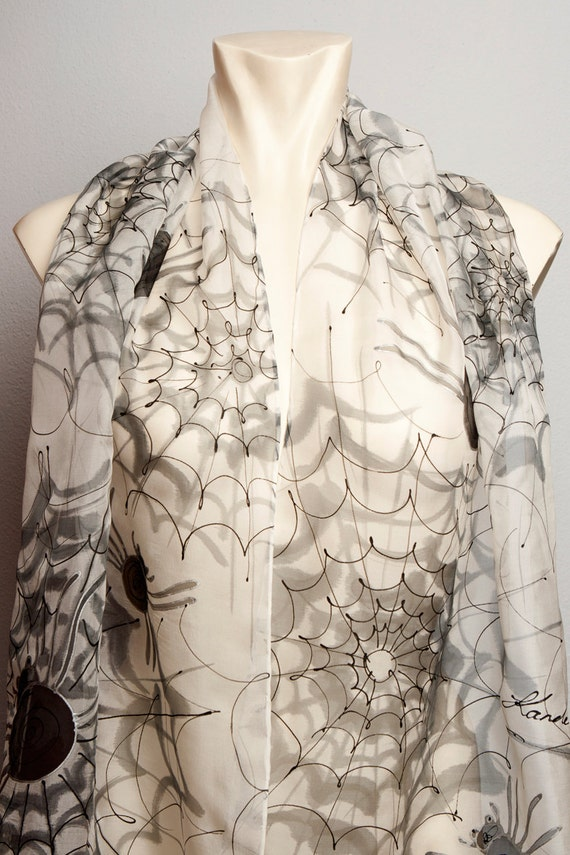 Unique Hand Painted Silk Chiffon  Elegant  Halloween Gothic Style Scarf with Spider Web Black Silver White 14 X 53 READY TO Ship