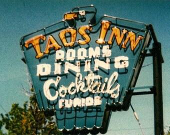 Taos Inn Neon Sign - 1980s kodachrome print 4 x 6 nostalgia - Taos New Mexico