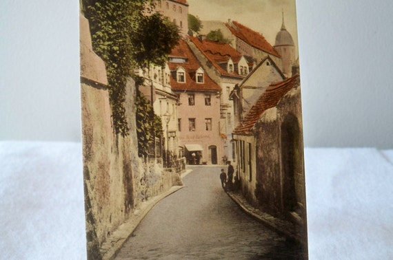 Vintage Postcard - Meissen Germany - Where is Everyone - original postcard