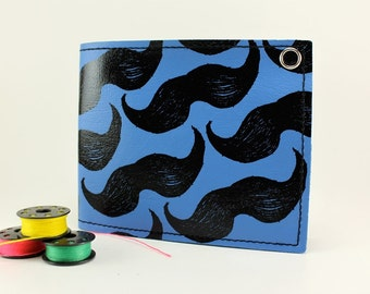 On Sale - Blue Mustache Wallet - Vegan - Get Stoked